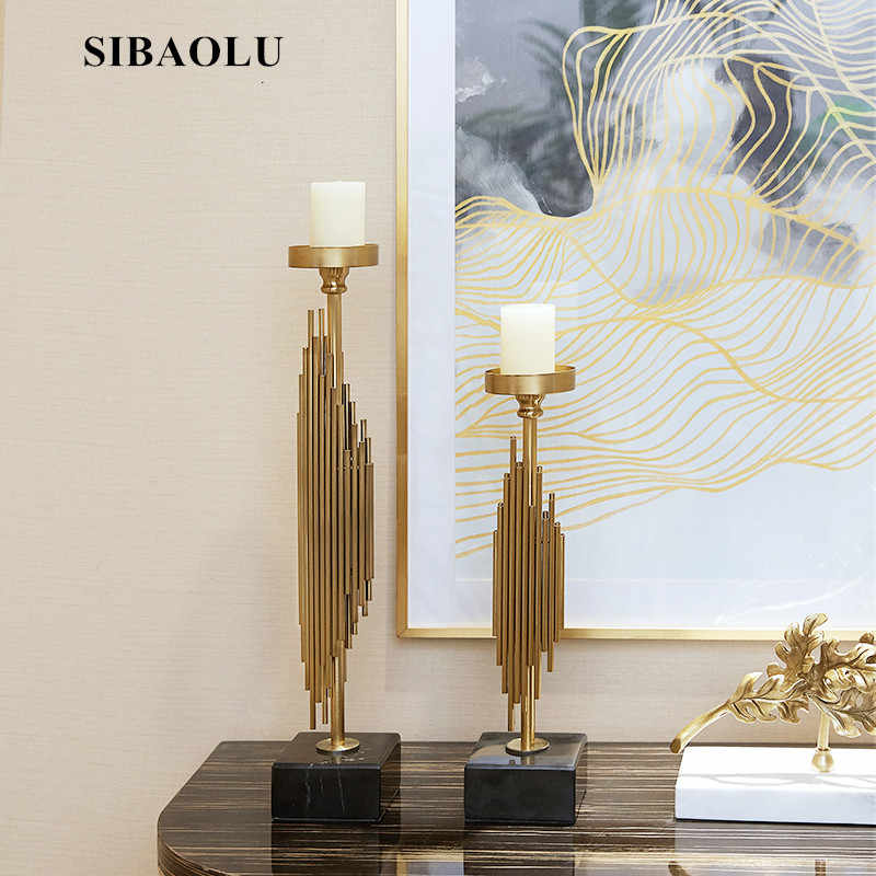Creative Metal Candles Hotel Sample Room Soft Decor Ornament American Romantic Candles Dinner Prop High End Marble Candlestand