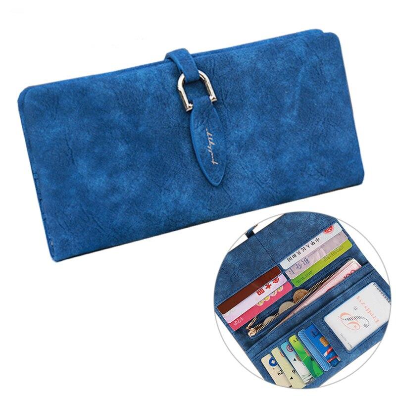 Ladies Korean Famous Brand Designer Women Long Wallet Faux Suede Leather Card Coin Bag Women's Evening Clutches Purses&Wallets