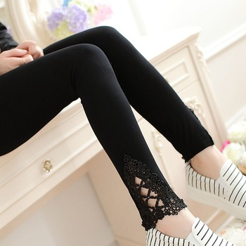 VIIANLES 2020 Hot Diamond Legging Women Cotton  Leggings Knitted Hollow Out Lace Pants Spring Autumn Black White Casual Trousers black hollow out stretchable leggings