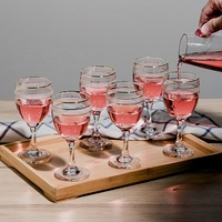 Domestic liquor cup set 6pieces, glass small red wine cup, 6 pieces short legged goblets.
