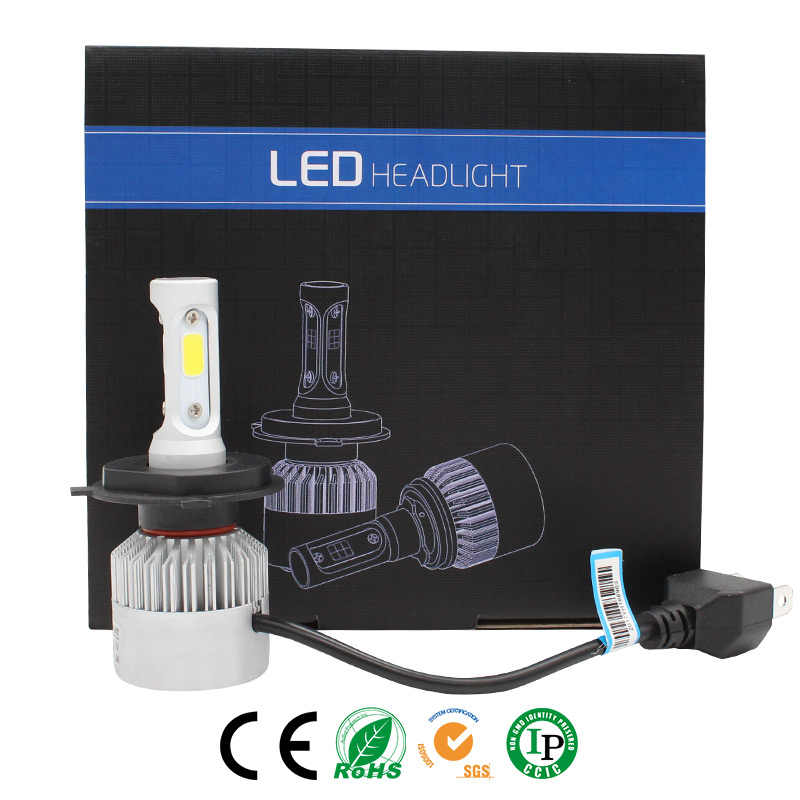 Elglux Car Light S2 H4 H7 H1 COB LED Headlight Bulbs H11 H13 12V 9005 9006 H3 9004 9007 9012 72W 8000LM Car LED lamp Fog Light