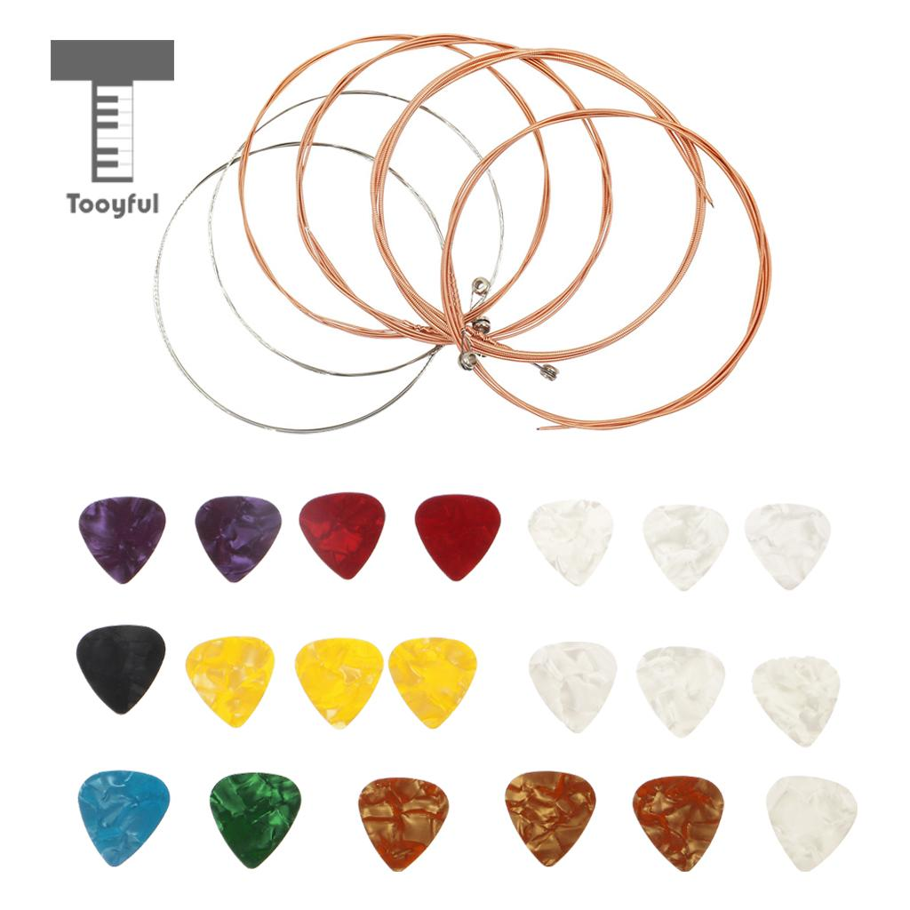 Tooyful Portable 20 Pieces Picks Plectrums with 6 Pieces Strings Set for Acoustic Guitar Standard Timbre E-B-G-D-A-E