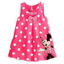 1-5 Years Old Girl Bow Casual Cartoon Mouse Dress 2019 Baby Sleeveless Dot Princess Set Outfits Winter Dress Girls