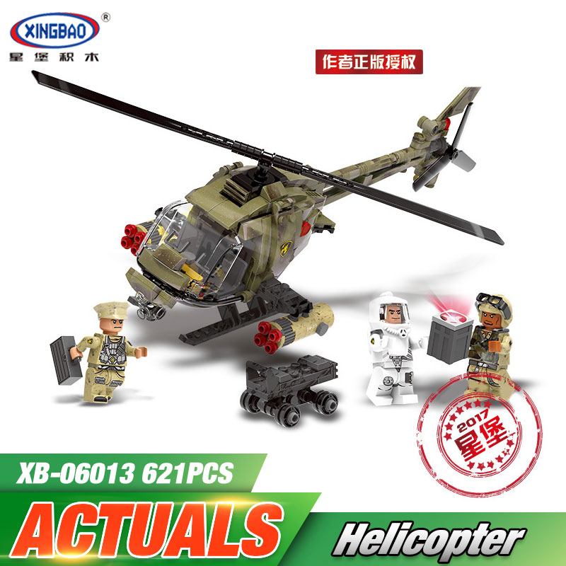 XINGBAO 06013 Genuine 621Pcs Military Series The Fighting Helicopter Set Building Blocks Bricks Funny Christmas Toys As Gift 8 in 1 military ship building blocks toys for boys