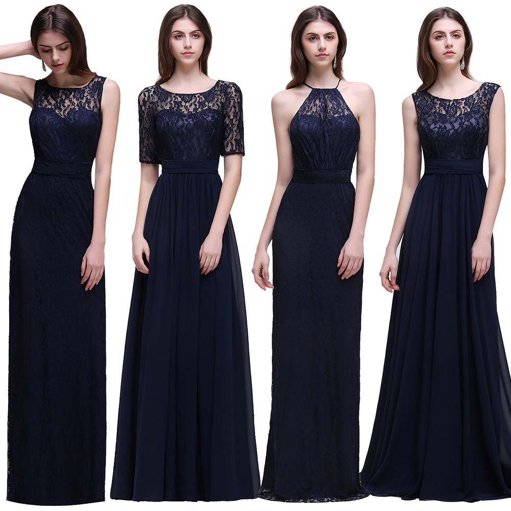 Compare prices on blue dresses bridesmaid online shoppingbuy low misshow real cheap navy blue bridesmaid dresses long vestido de festa de casamento chiffon lace robe ombrellifo Choice Image