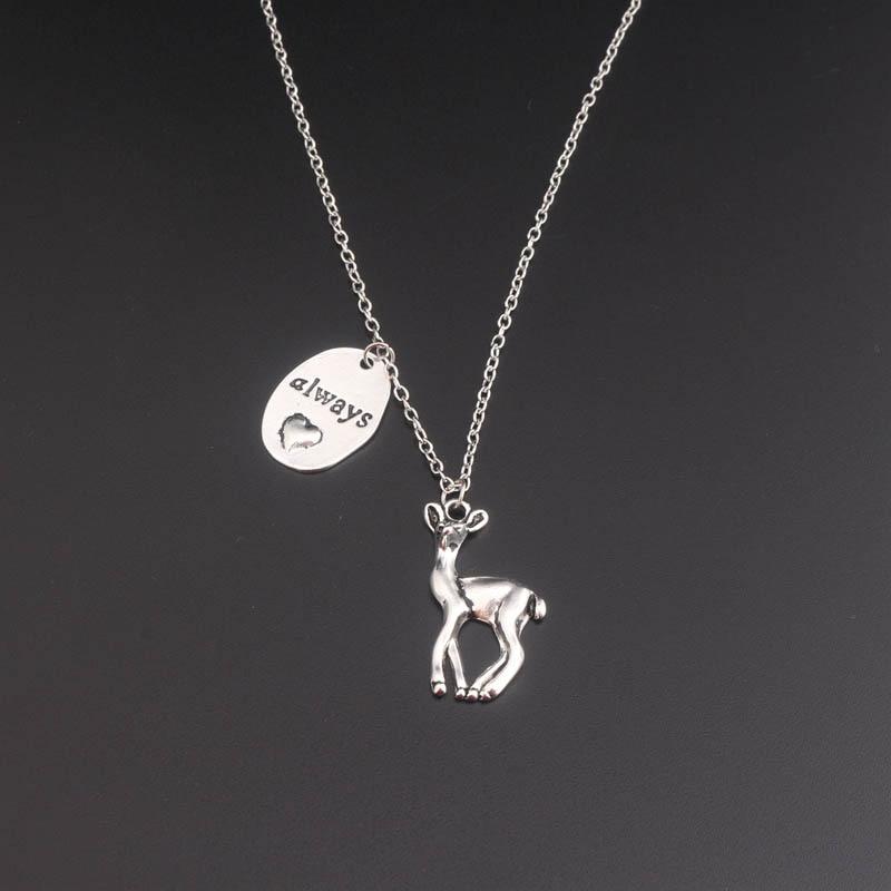 Всегда Снегг колье в винтажном стиле с рисунком оленя вечное сердце Форма всегда с сердцем и надписью «Доу кулон ожерелье мода Гламурная ле...