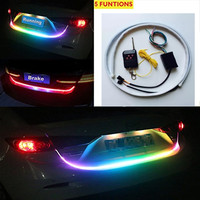 120cm 150cm Wireless Remote RGB Flow LED Strip Rear Trunk Light RED Yellow Car Brake Turn