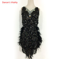 Luxury Sequins Feather Latin Dance dress Women Girls Rumba Samba Salsa Ballroom Dance Competition Clothing Performance Costumes