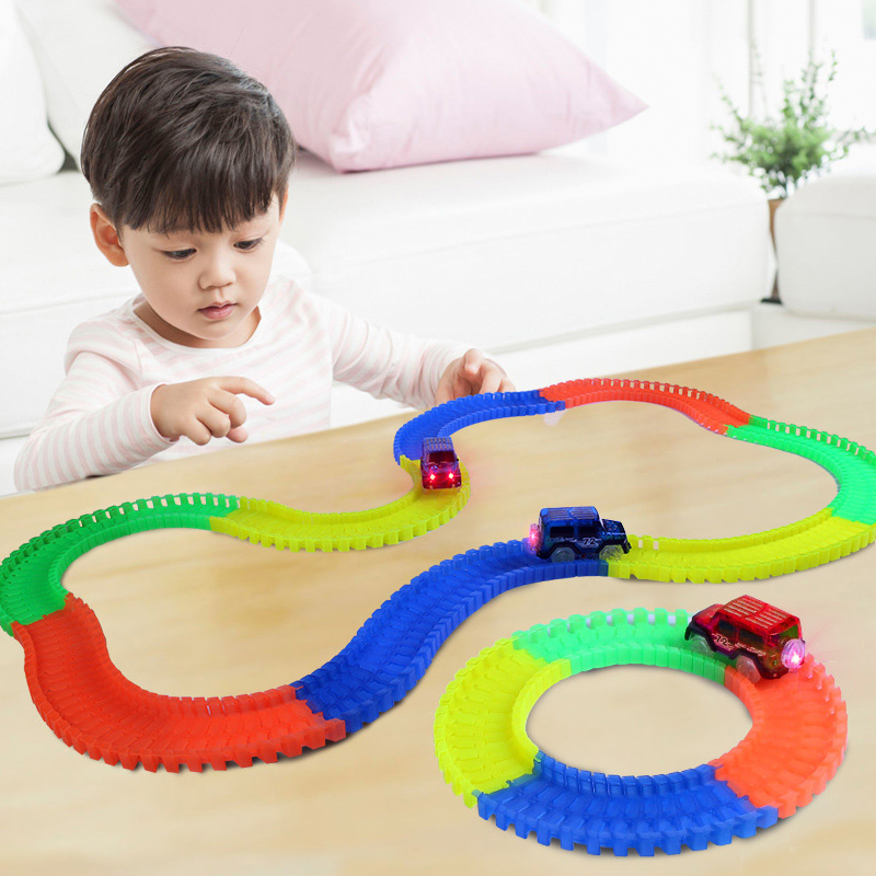 220 Pcs DIY Wheels Railway Road Magic Racing Track Set Glowing Track Car Kids Educational Funny Assembly Rail Car Toy Gift