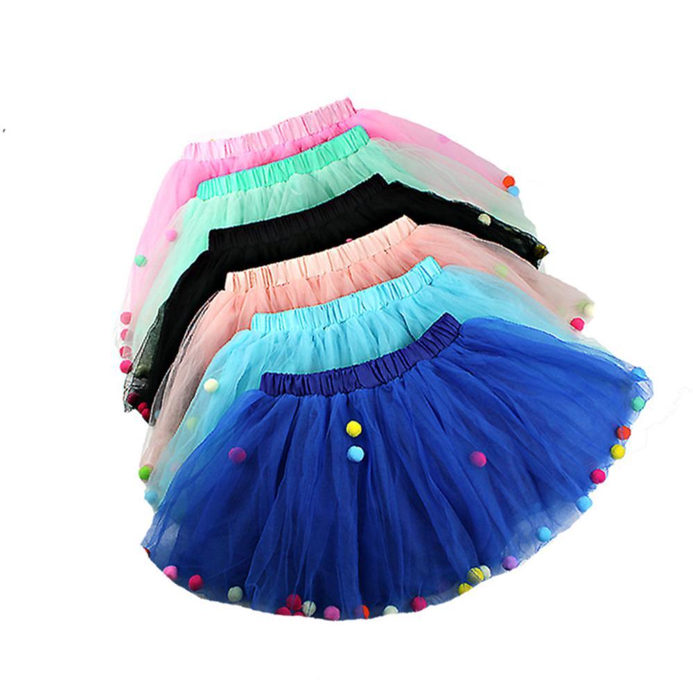 Summer Newborn Baby Girl Tutu Skirt Elastic Waist Princess Tulle Colorful Pompom Mini Children Clothes 1-8Y