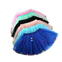 Summer Newborn Baby Girl Tutu Skirt Elastic Waist Princess Girl Tulle Skirt Colorful Pompom Mini Baby Girl Children Clothes 1-8Y цена