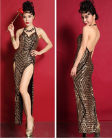 2015 Gold Sequins Women Long Dress Fashion Cheongsam Female Singer Ds Costume Dj Dance Stage Show Nightclub Prom Sexy Dress