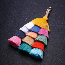 Fashion boho key chain women cute pompon tassel keychain bag accessories car bags key ring fringe jewelry key pendant charm J40 2019 oriange new fashion key chain accessories tassel key ring pu leather bear pattern car keychain jewelry bag charm women gift