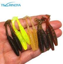 TSURINOYA 12pcs/pack Soft Worm Lures Fishing Worm with Paddle Tails 1g 5cm Swimbait Jig Head Soft Lure Bass Fishing Bait