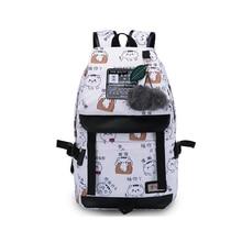 Mode Frauen mädchen buchstaben druck rucksack usb tasche für laptop frauen reisetaschen weiß leinwand schulrucksack für mädchen