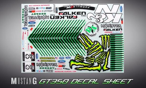 1 10 scale rc on road race touring drift car mustang gt350 decal sheel gt