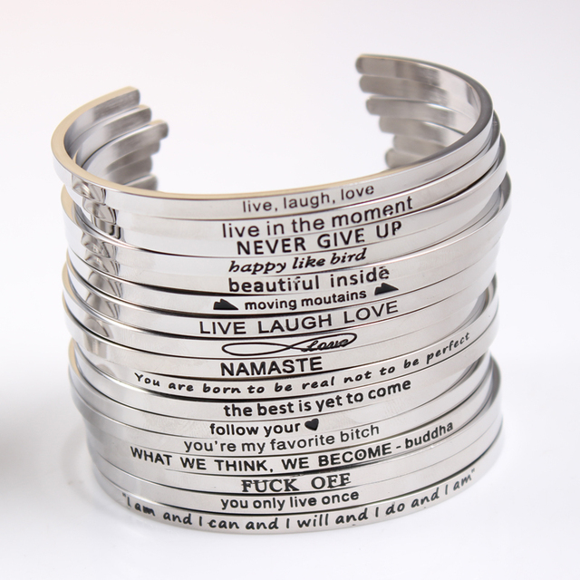 2017 New Stainless Steel Engraved Positive Inspirational Quote Hand Stamped  Cuff Mantra Bracelet Bangle For Women