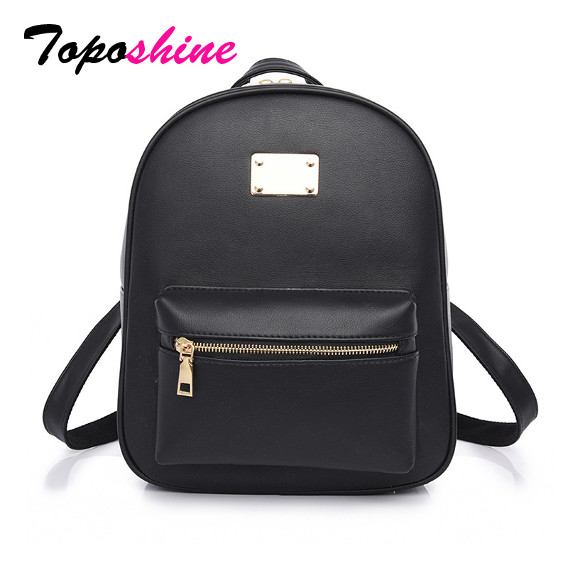 Toposhine Fashion Women Backpack For Girls 2018 Backpacks Black Backpacks  Female Fashion Girls Bags Ladies Black Backpack 1538-in Backpacks from  Luggage ... 2497b4cb32c00