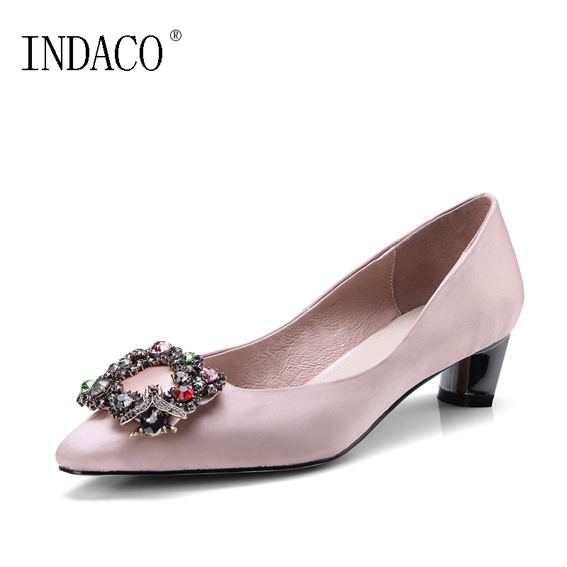 2018 New Comfortable Pink Black Satin Leather Pumps Low Heel Shoes Rhinestone Pointed Toe Wedding Shoes 4cm INDACO