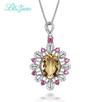 L Zuan 925 Sterling Silver Natural 6 2ct Citrine Yellow Necklace Pendant For Woman Gift With
