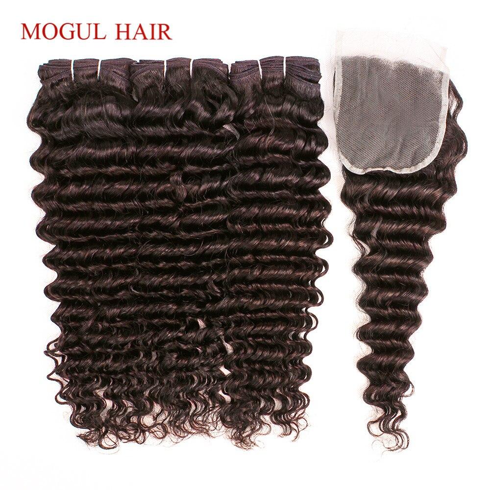 MOGUL HAIR Dark Brown Color 2 Peruvian Deep Wave Hair 2 3 Bundles With Closure Free