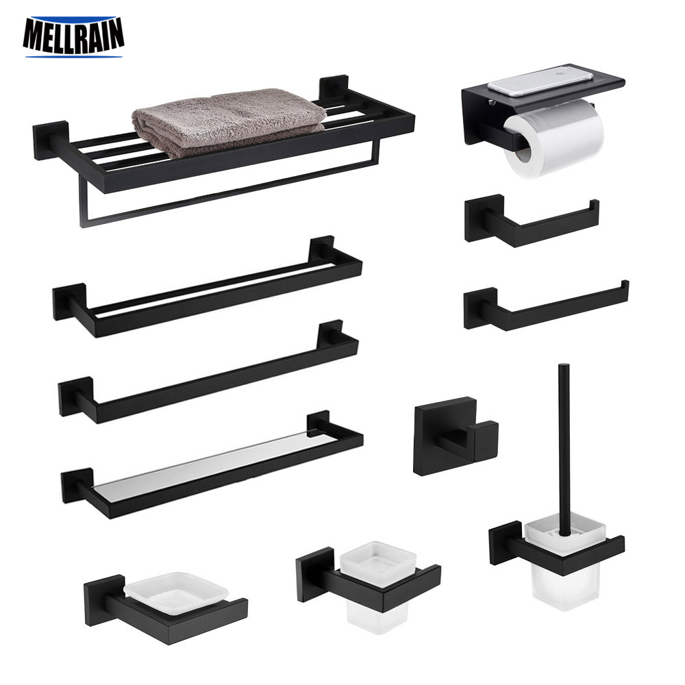Black Quality Bathroom Hardware Set 304 Stainless Steel Towel Rack Toilet Paper Holder Liquid Soap Holder Towel Bar 10 Choice