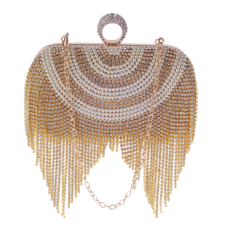 Small Women Clutch Tassel Crystal Evening Bags With Handle Diamonds Finger Ring Beaded Wedding Handbags Actor props purse women clutch bags diamonds finger ring ladies vintage evening bags crystal wedding bridal handbags purse bags holder