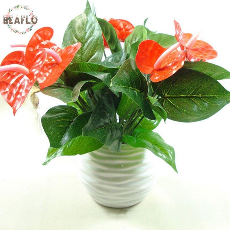 1bunch artificial flower fake anthurium bouquet wedding for Artificial flower decoration