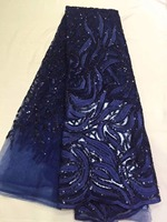 Popular Buying High Class Elegant Navy Blue Sequins Flower African French Lace Breathable Tulle Lace Fabric