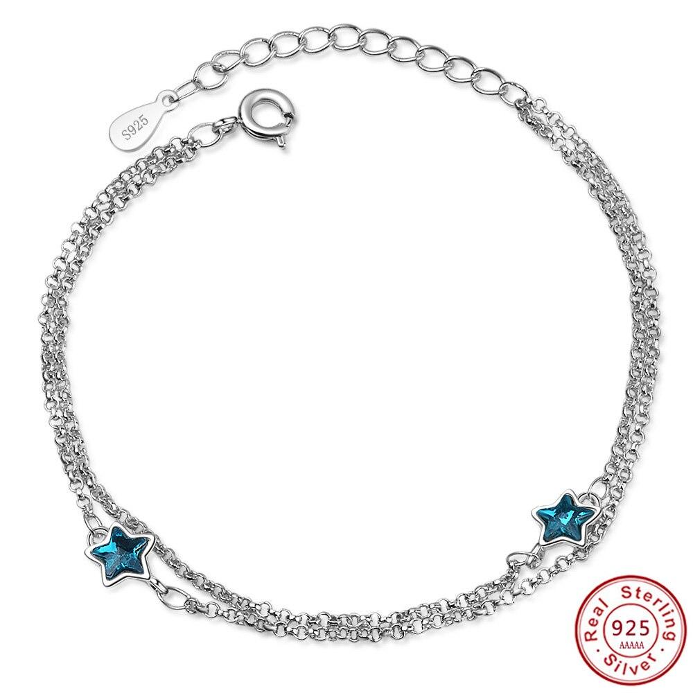 Best Friend Bracelet With blue Enamel Rhinestone Small Star 925 sterling silver Chain Bracelets Bangles Jewelry for Girls Gift