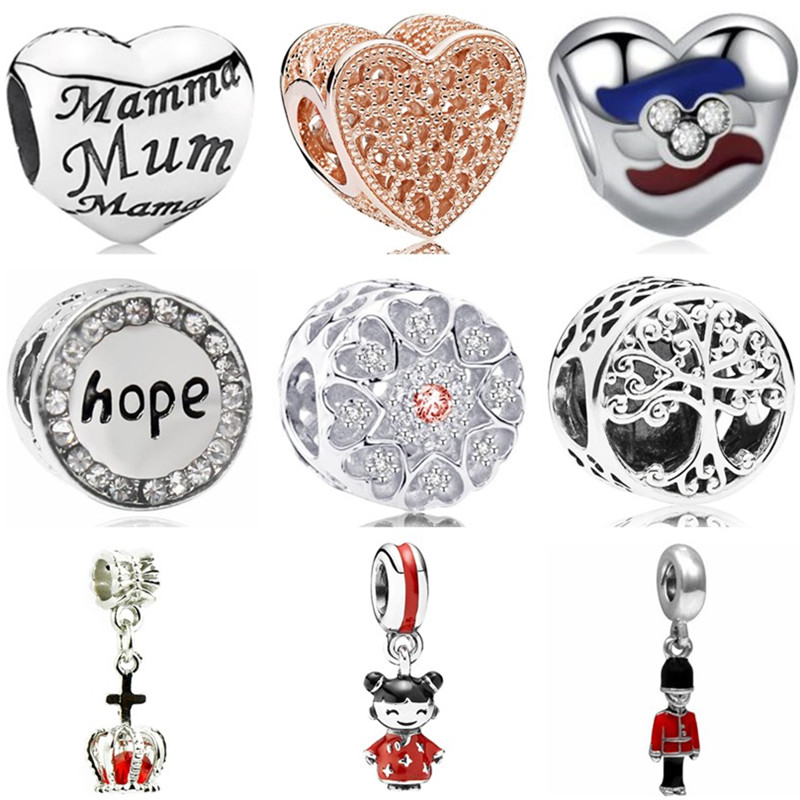 Safety Chain Bracelets Jewelry Crown-Doll Charms Heart Beads Crystal Fit Pandora Hot-Sale