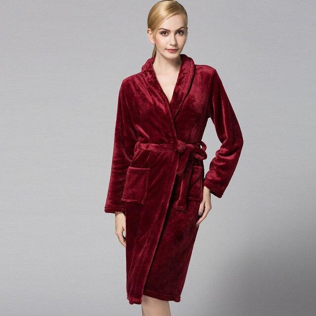 New Women Coral Fleece Winter Autumn Warm Bathrobe Nightgown Kimono ...