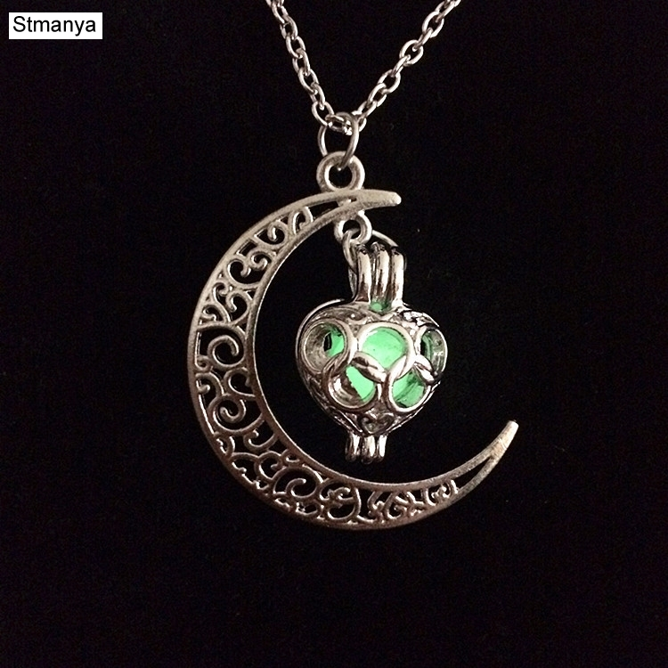 New Fashion stone shine moon Charm Luminous Stone necklaces Pendants fashion wholesale jewelry Statement Necklace women N1113