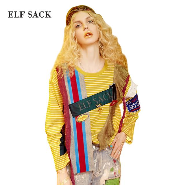 Elf sack 2017 primavera mujeres punk estilo colmenas del cordón del remiendo de manga larga camisetas niñas carta suelta appliques rayas tee tops