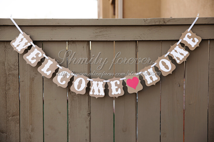 Hot Sale Customised Welcome Home Red Heart Party Banner Bunting House Decorations China Mainland