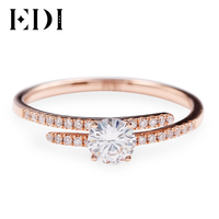 EDI сплит дизайн Настоящее 18 К розовое золото Moissanites Diamond обручение кольцо для женщин 0.5ct круглый бриллиант обручальное