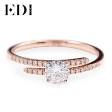 EDI פיצול עיצוב אמיתי 14K עלה זהב Moissanites אירוסין טבעת עבור נשים 0.5ct עגול מבריק חתונה טבעת להקה