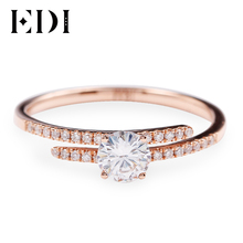 EDI diseño con abertura Real de oro rosa de 14K, aretes Anillo de compromiso de diamante para las mujeres 0.5ct brillante redondo anillo de boda banda