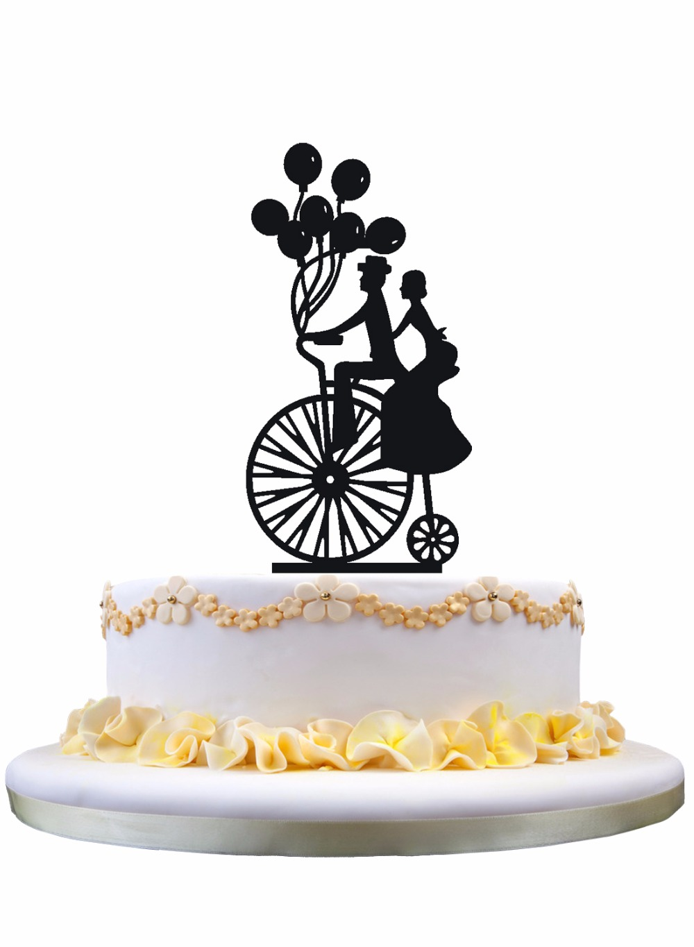 Meijiafei Bride and Groom in The Bike with Balloons Wedding Cake ...