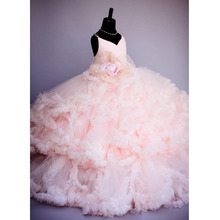 2016 Pink Flower Pageant Dresses For Girls Kids Ball Gowns Tiered Ruffles Backless First Communion Dresses For Girls To Wedding