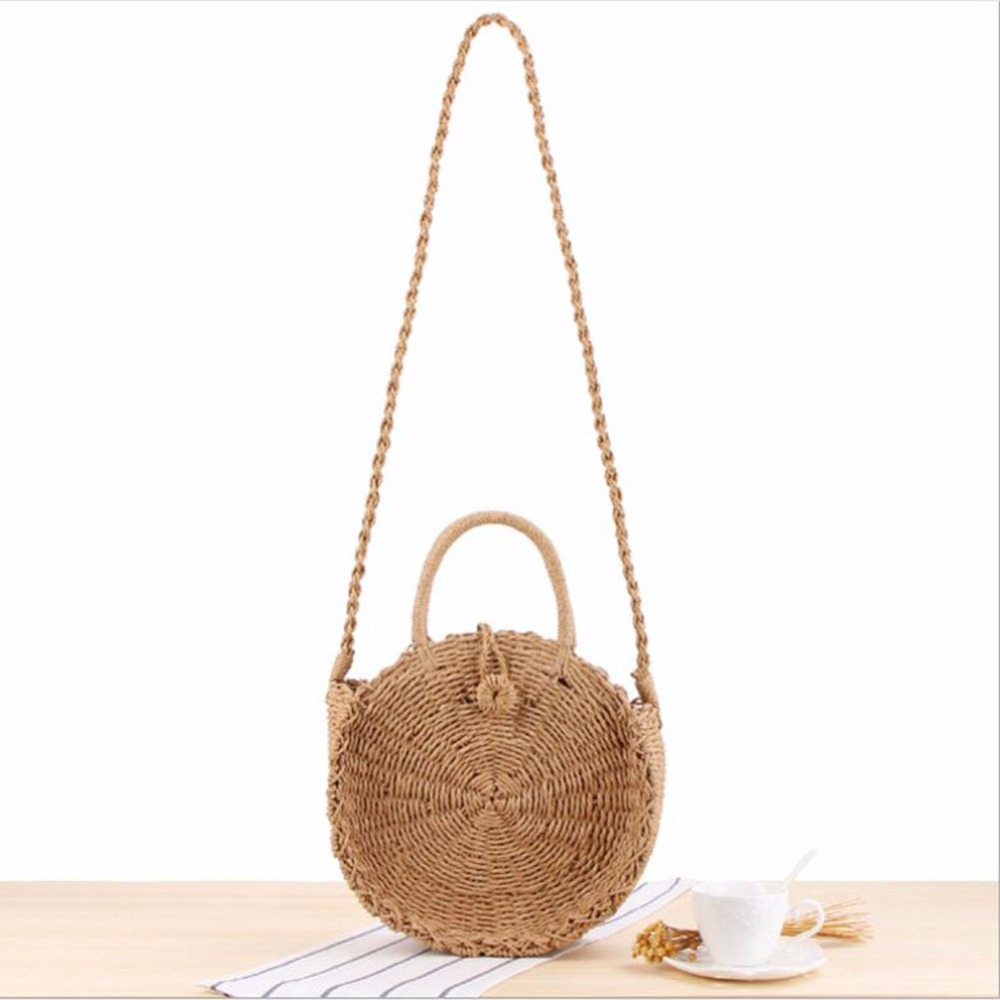 Women Rattan Straw Beach Shoulder Bag Round Woven Holiday Tote Summer Purse Bag