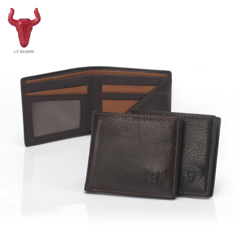 LY.SHARK Genuine Cowhide Leather Wallet Men Casual Wallets male design business Credit Card Holder Coin Purse Zipper Pocket new