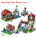 New Creator My Worlds Mine-craft City Mountain Hut Picnic 3 in 1 House Building Blocks Kit Kids Toys
