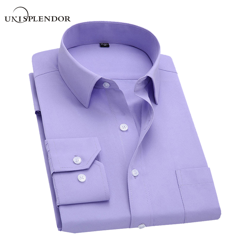 unisplendor Long Sleeve Slim Men Dress Shirt Male Fit