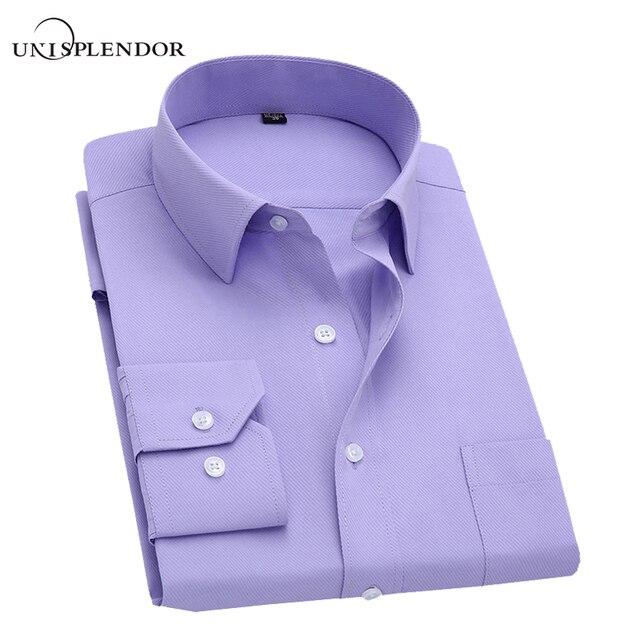 Long Sleeve Slim Men Dress Shirt 2018 Brand New Fashion Designer High Quality Solid Male Clothing Fit Business Shirts 4XL YN045