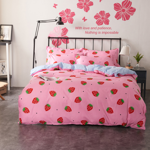 Marvelous 4pcs/set Girls Princess Bedding Sets Duvet Covers Set Pink Strawberry Plaid  Flat Bed Sheet