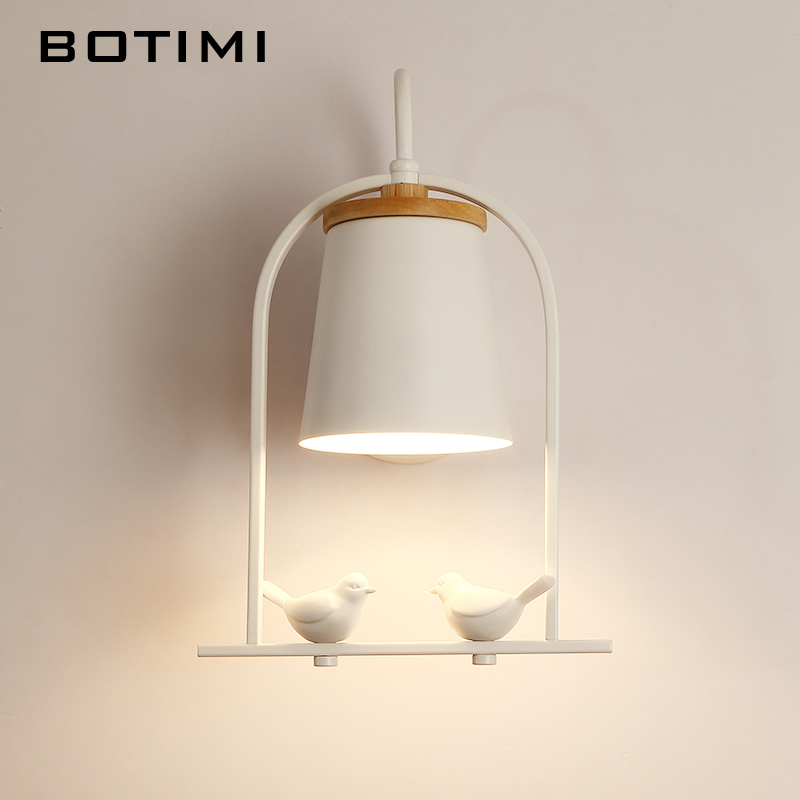 BOTIMI Modern LED Wall Lamp With Metal Lampshade For Bedroom Wooden Wall light Bedside Lamp White Wall Sconce Indoor Luminaire botimi nordic led table lamp with metal lampshade for bedroom white bedside desk lights black reading lamps wooden luminaria