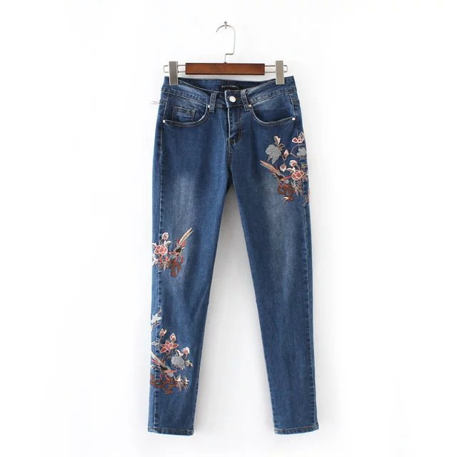 Achiewell Flower Embroidery Women's   Jeans   For Women Destroyed   Jeans   Woman Mid Waist Pants   Jeans   With Embroidery   Jeans