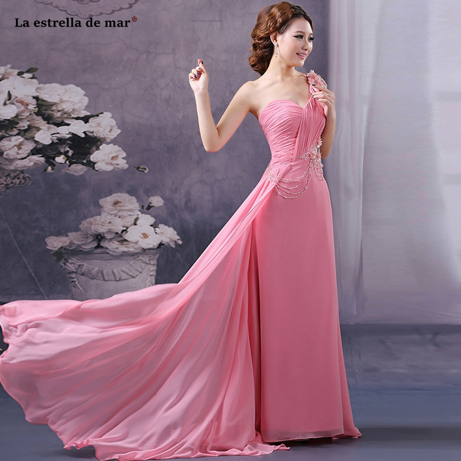 La estrella de mar brautjungfernkleid new chiffon lace crystal one shoulder a Line blush pink   bridesmaid     dress   trailing plus siz