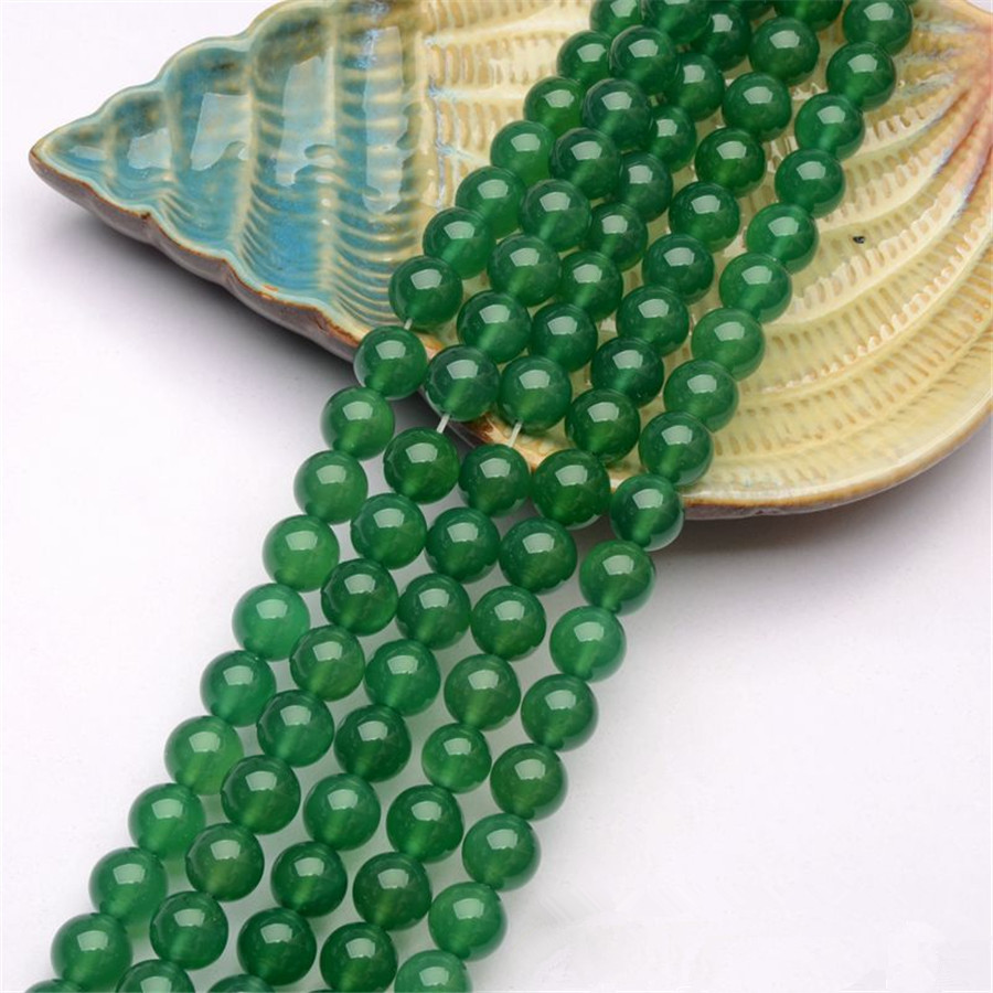 DIY Beads For Bracelet Necklace Fashion Jewelry Long Rope Chain Genuine Natural Semi Precious Stone Green Round Beads